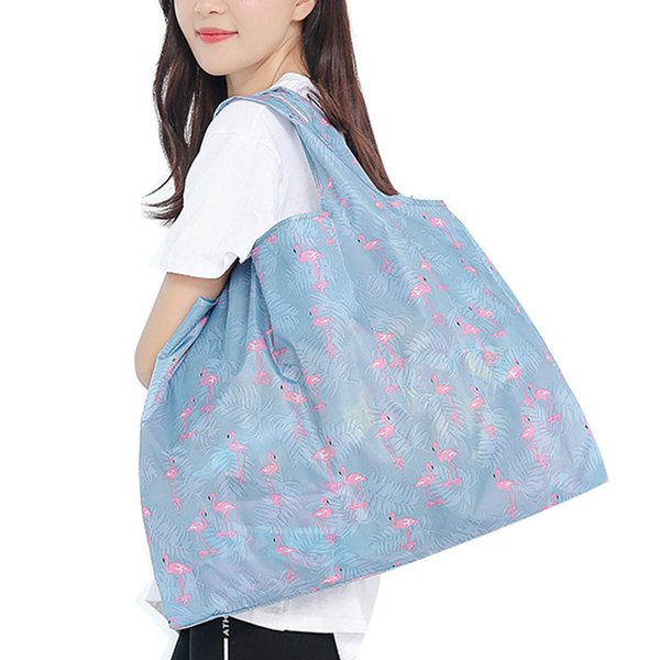 New Polyester Folding Shopping Bag Hot Sale Large Two-in-one Cartoon Environmental Protection Shoulder Storage Bag