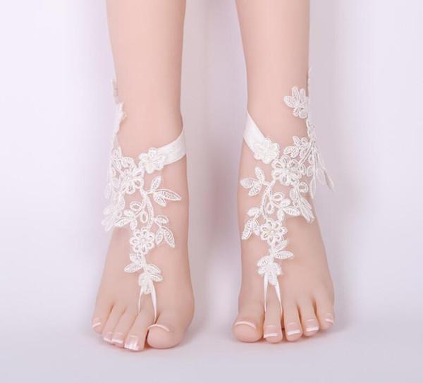 Moda Feminina Rendas Sandália Com Os Pés Descalços Da Praia Do Pé Do Pé Do Casamento da Noiva Tornozeleira Flor de casamento acessório do baile de finalistas Do Pé