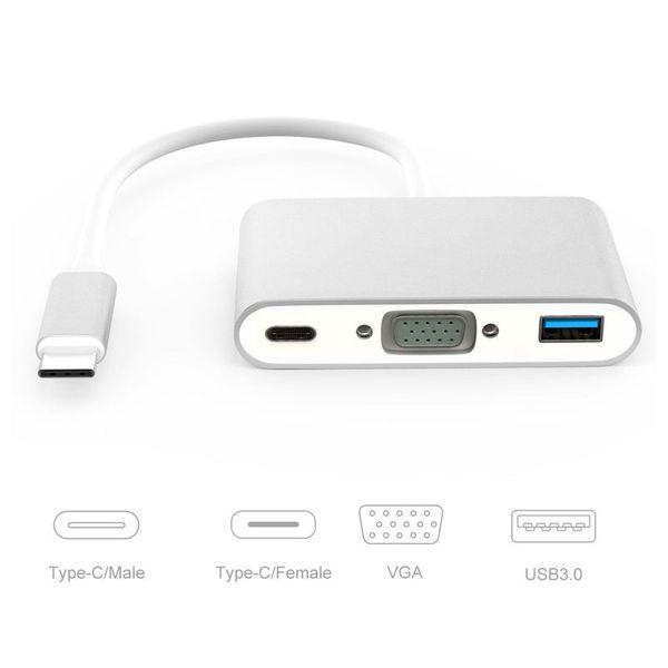 Neue USB 3.1 Typ C USB-C zu VGA Buchse Adapterkabel Typ C zu HDMI USB Für neue Macbook 12 Zoll Chromebook