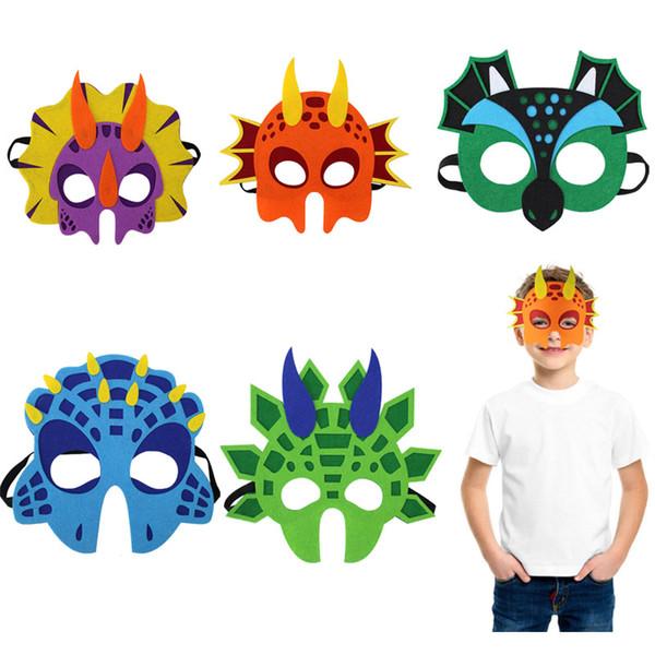 Niños Dinosaur Mask Headwear Masquerade Espada Dragon Wing Dragon One-horned Dragon Eyes Diadema Apoyos Fiesta de Halloween Regalo de Navidad HH7-1346