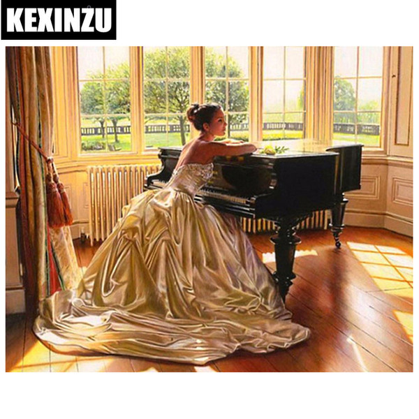 "New Full Square Diamond 5D DIY Diamond Painting ""Piano girl"" 3D Embroidery Cross Stitch Mosaic Painting Decor"