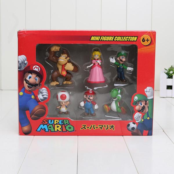 Super Mario Bros Peach Toad Mario Luigi Yoshi Donkey Kong PVC Action Figure Toys Dolls 6pcs/set New in Box