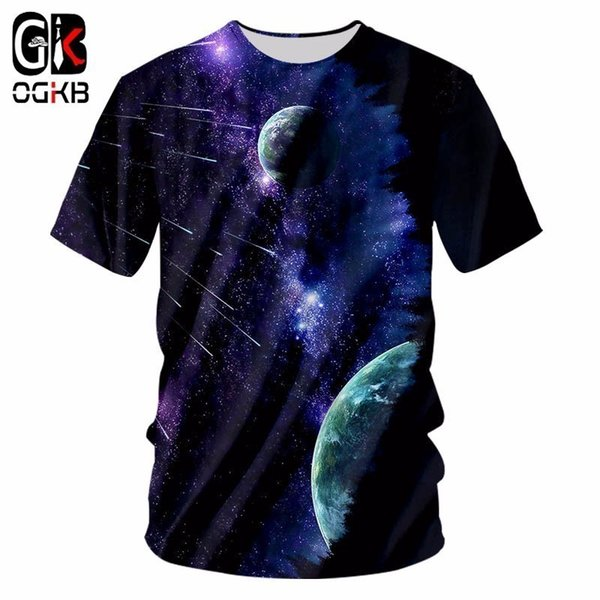 OGKB Galaxy Spae T-shirts New Arrival Men Cool Print 3d Metor Shirts Hombre Short Sleeved Breathable Undershirt Fitness Tops