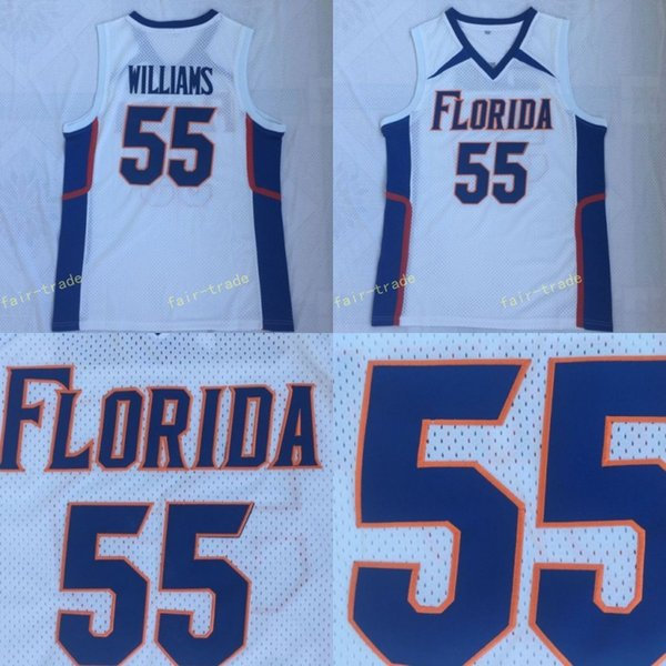 Jersey de JASON WILLIAMS dos homens # 55 Florida Gators azul branco basquete universitários Jerseys