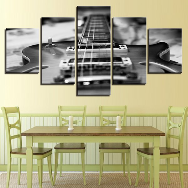 HD Prints Canvas Pictures 5 Pieces Guitar Paintings Wall Art Vintage Black White Music Posters Framework Home Decor Living Room