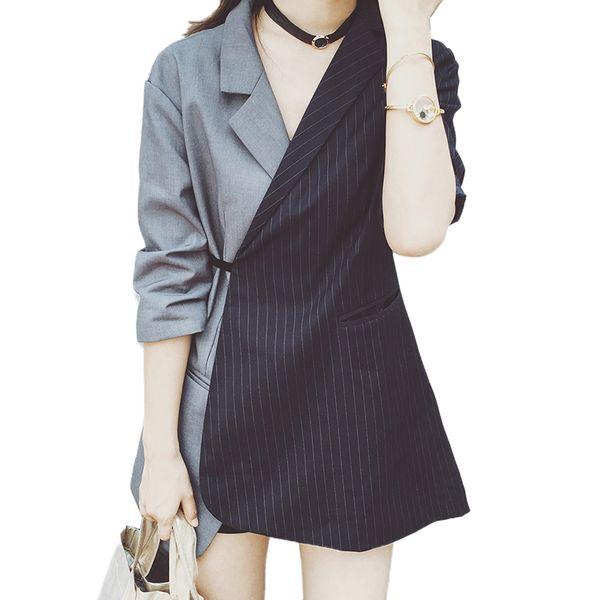 Runway striped blazer women jacket blazer Fashion tie waist jackets Elegant ladies office workwear Wrap blazes suit feminino L18101303