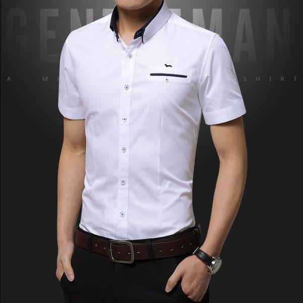 2018 yepyeni erkek kısa kollu erkek bluz pamuk harmont sekiz renk katı slim fit damla nakliye blaine erkek rahat gömlek