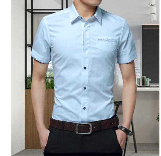 Последние модные новые поступления лето сплошной цвет рубашки мужчины корейский стиль моды с коротким рукавом Slim Fit рубашка для мужчин
