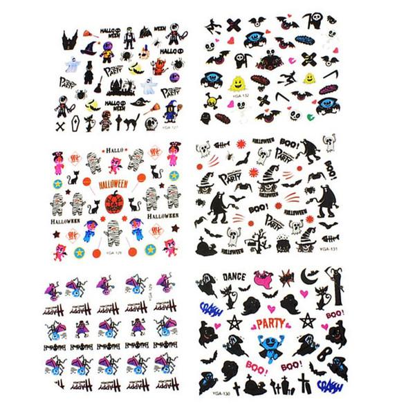 24 Hojas de Diseño de Halloween Belleza Nail Art Nails Pegatinas Transferencia de Adhesivo 3D Calavera Pegatinas de Calabaza Calcomanías Decoración