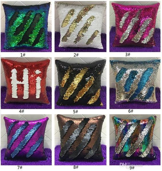 selling two tone sequins throw Pillow Case continental mermaid decorative pillow cushion case sofa car DIY case b570
