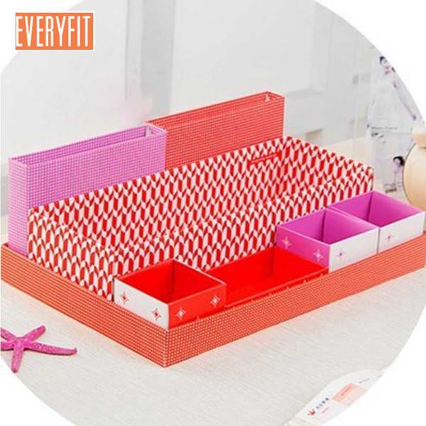 Cartone Scatola di immagazzinaggio Scrivania Decor FAI DA TE Cancelleria Makeup Cosmetic Organizer (Big dot) -Pattern rilasciato a caso