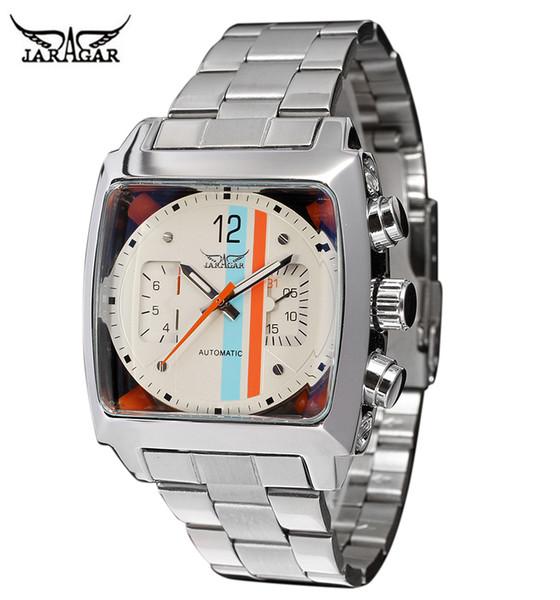 JARAGAR Caja Transparente Cuadrada de Acero Inoxidable Atrás Alta Calidad Reloj Automático de Movimiento Masculino Reloj Masculino Relogio