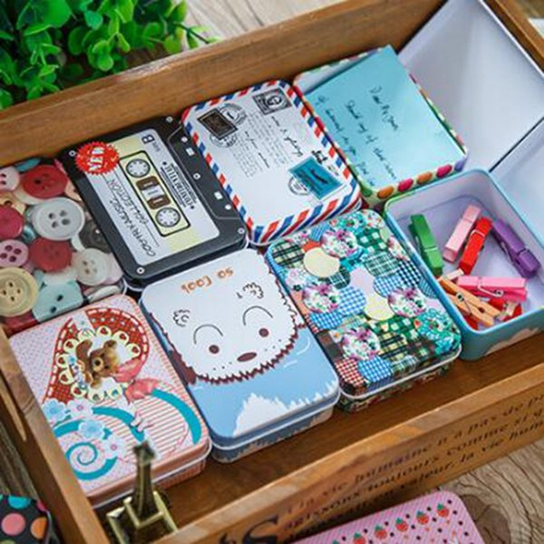 Cartoon iron storage box Korea cute retro mini tin box Jewelry gift card small iron box