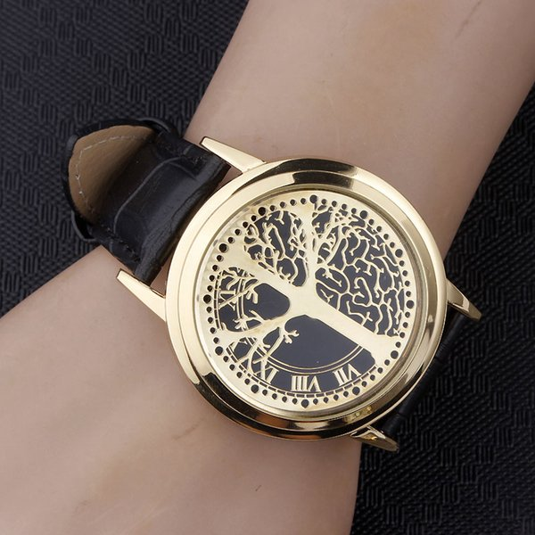 Tree of Life Creative Watches Gold LED Touch Screen Unique Watch For Men Women Leather Strap Novel Lovers Luminous Wrist Watch