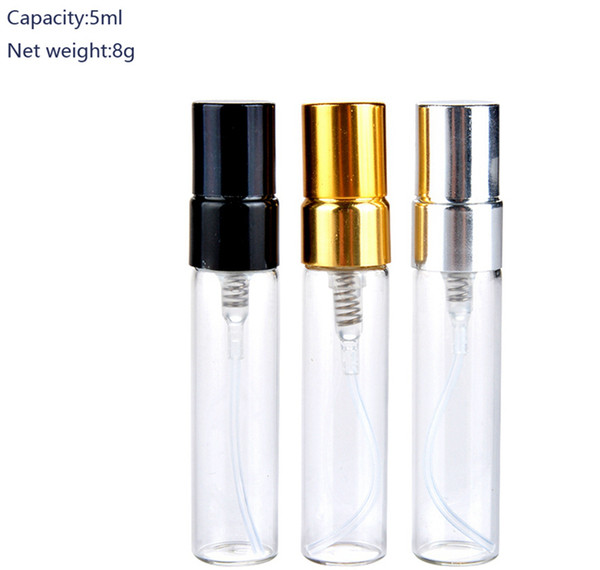 top popular Mini Vials Perfume Bottles 5ml Travel Refillable Portable Empty Atomizer Clear Perfume Spray Bottle Ourdoor DDA198 2019