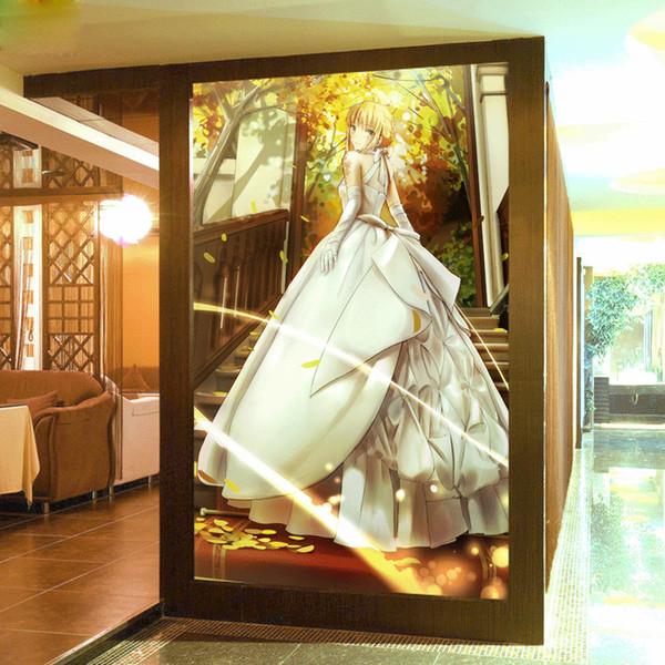 Acheter Peinture Murale Personnalisée Anime Japonais 3d Papier Peint Destin Séjour Nuit Papier Peint Sabre Grande Photo Papier Peint Art Décoration