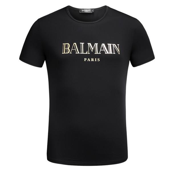 Avrupa Ünlü Erkekler Tişörtleri Tasarımcı Altın Mektup Baskı T Gömlek Casual O Boyun Yaz Kısa Kollu Sokak Tarzı
