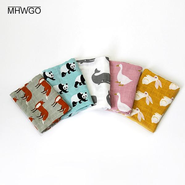 MHWGO Baby Towel Gauze Bath Towel Baby Soft Cartoon Scarf Handkerchief 60x60cm Security Blanket Full Cotton Multifunction 1PC