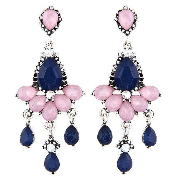 Bohemia Vintage Retro Rhinestone Acrylic Bright Gem Geometric Water Drop Pendant Charm Dangle Earrings Fashion Accessories Jewelry For Women