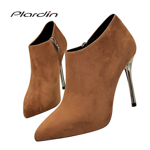 Plardin winter Ladies Sexy Wedding Party Riding Boots Shoes Women Suede Pointed Toe Sexy Zipper High Heels Ankle Boots Shoes