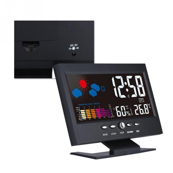 VBESTLIFE Smart Home Multifunzione LCD da interno Digital Temperatura Umidità Weather Clock Modulo intelligente di allarme attivato dall'utente