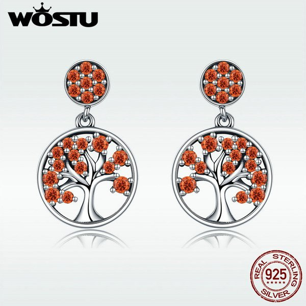 wholesale Genuine 925 Sterling Silver Autumn Red CZ Crystal Tree of Life Drop Earrings Women Fine Jewelry Gift Brincos BKE321