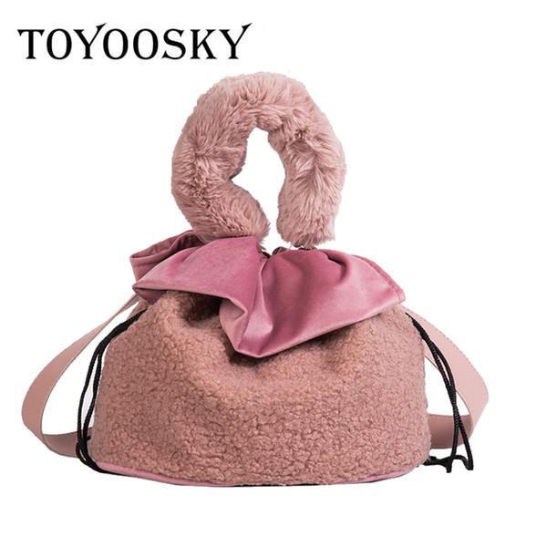 TOYOOSKY Crossbody Bag For Women Hot Selling Wool Stylish Mini Bucket Bag Three Colors Soft Handle Leather Handbag Shoulder Bags