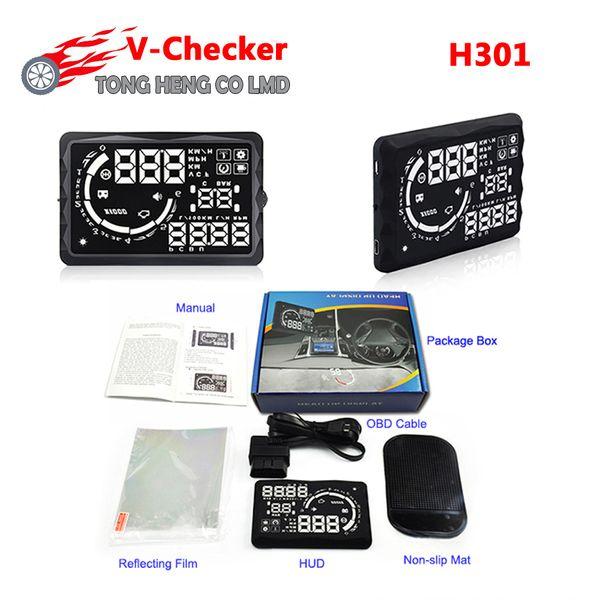 Original V-CHECKER HUD H301 Universal OBD Car HUD VCHECKER Head Up Display 5 Inch LED Display TPMS Speed Auto Diagnostic Tool