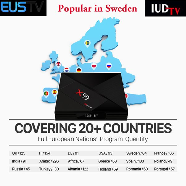 Retail And Wholesale Best Hd Arabic Iptv European Set Top Box X99 With  Eustv App Free For 2500+France Sweden Spanish Albanian Dutch Livetv And Vod