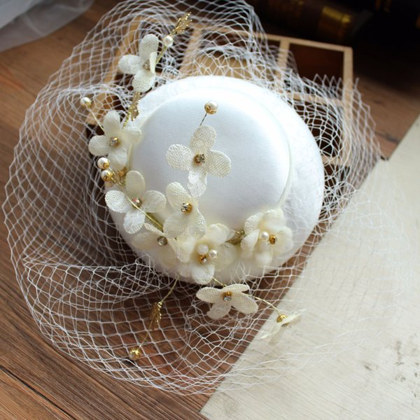 2018 New Beautiful Birdcage Bridal Flower Feathers Fascinator Bride Wedding Hats Face Veils High Quality Free Shipping