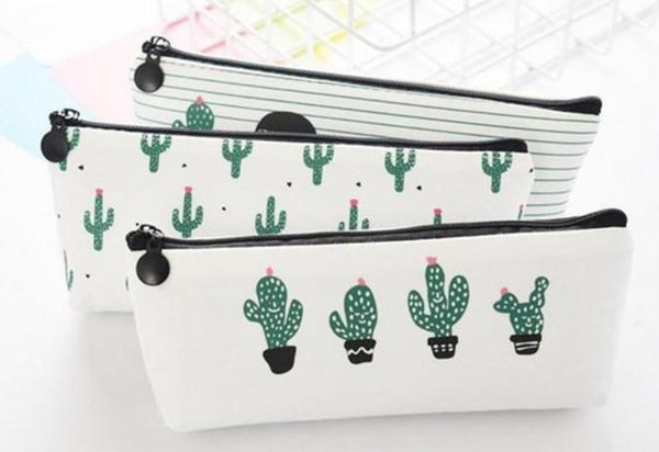creative cactus Pencil Case Purse canvas Portable Pen Money Wallet stripe zipper Pouch Pocket Keyring Gift Kawaii pencil Jewelry Bag