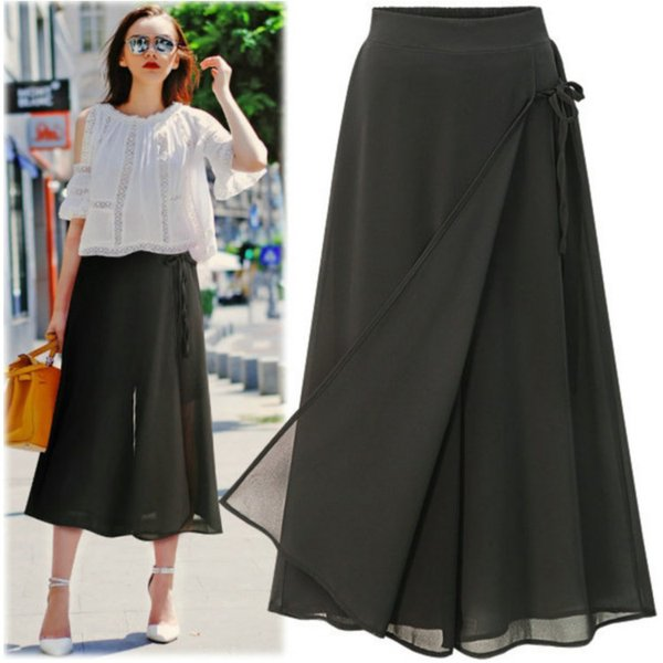 Plus Size Wide Leg Pant for Women 2018 Hot New Summer Skirt Pants Fashion Casual Chiffon Pantskirt XL 2XL 3XL 4XL