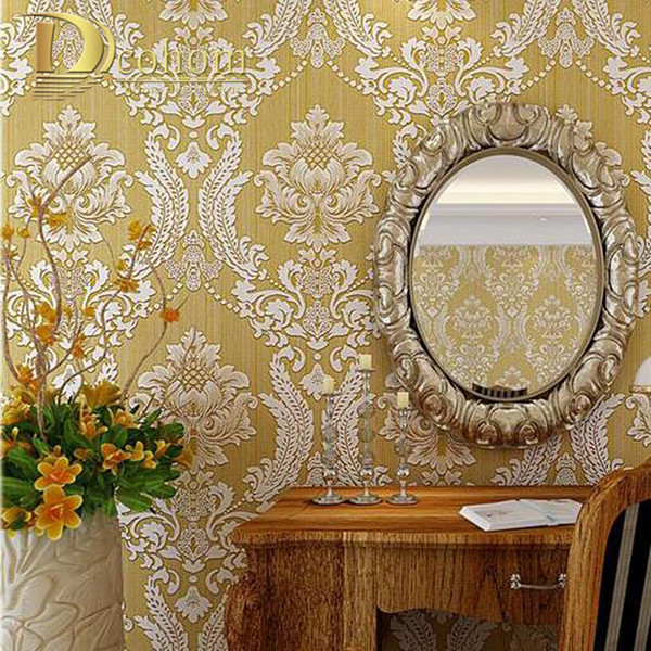 European Embossed Damask Wallpaper 3D Stereoscopic Design Living room Sofa TV Walls Decor Luxury Homes Wall paper Rolls