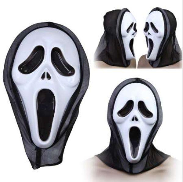 Fiesta de disfraces de Halloween Cara larga Máscara de terror espeluznante Máscara terrible con capucha