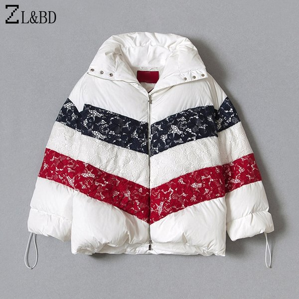ZL&BD doudoune femme Women's Winter Thick Oversize White Down Jacket and Coat Ladies Elegant Lace Duck Down Parka mujer ZA1201