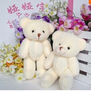 24 pcs frete grátis 12 CM de pelúcia brinquedo de pelúcia urso dos desenhos animados conjunto de material de embalagem conjunta mini teddy bear cor bege