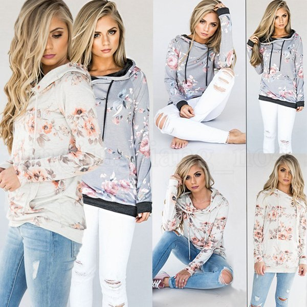 top popular Women Hoodie 8 Styles Floral Printed Long Sleeve Pullover Casual Pocket Sweater Sweatshirt Jumper Tops OOA5424 2019