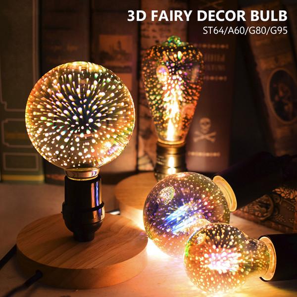 Weiß / Warmweiß 3D Star LED Lampe 85-265V E27 Feuerwerk Effekt Vintage Edison Birne 3D Lichterkette Weihnachtsdekoration Licht
