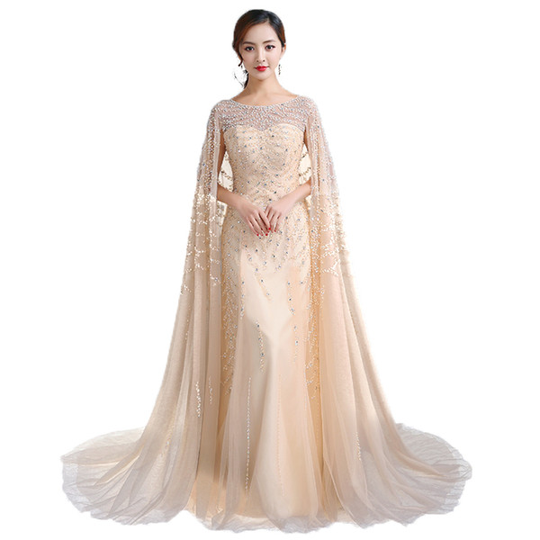 Long Luxury Champagne Shawl Shawl Heavy Handmade Bead Prom Party Dresses Round Neckline To The Formal Evening Dresses DH28
