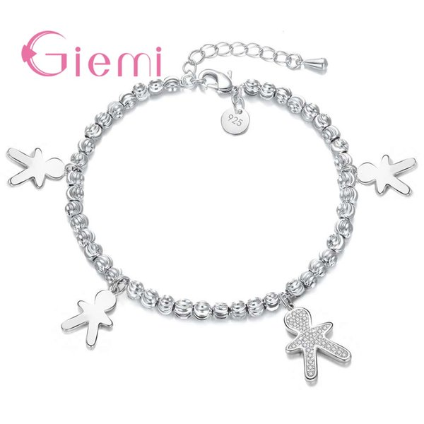 Giemi Genuine Fashionable 925 Sterling Sier Special Design Figure Pendant Bracelets For Women Ladies Crystal Jewelry Present