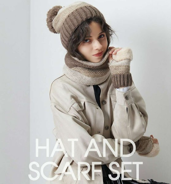 New Arrival And Fashion Outdoor Woolen Thermal Knitting Three-Piece Suit For Hat Scarf Gloves With For Winter