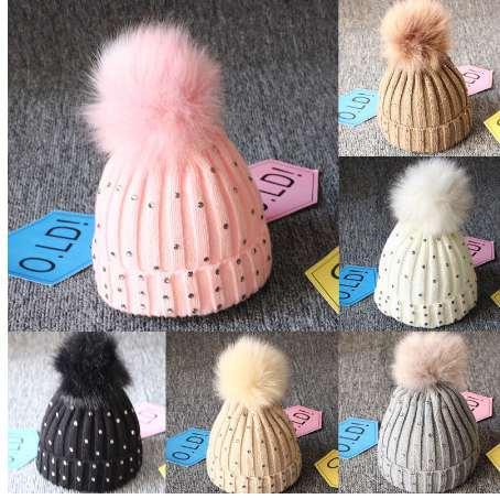 girl Pom Pom Beanie Warm Knitted Bobble Kids Fur Pompom Hat Children Real Raccoon Fur Pompon Sequins Winter Hat Cap