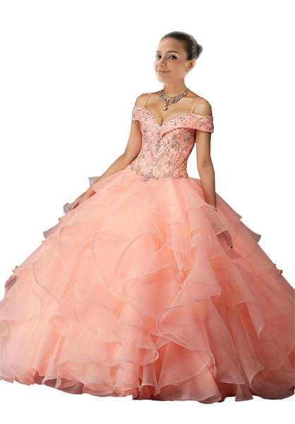 Coral Cold Shoulder Prom Quinceanera Dresses Organza Crystal Beaded Sweet 16 Girls Ball Gown Ruffles Long Cheap Beads Vestidos 15 anos