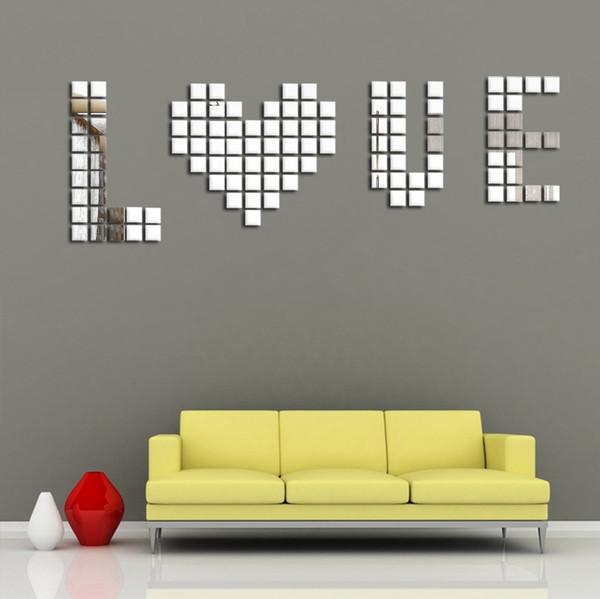 DIY 2x2cm Acylic 3D Wall Sticker Mosaic Mirror Square Mirror Wall Sofa Living Room Decoration Free shipping