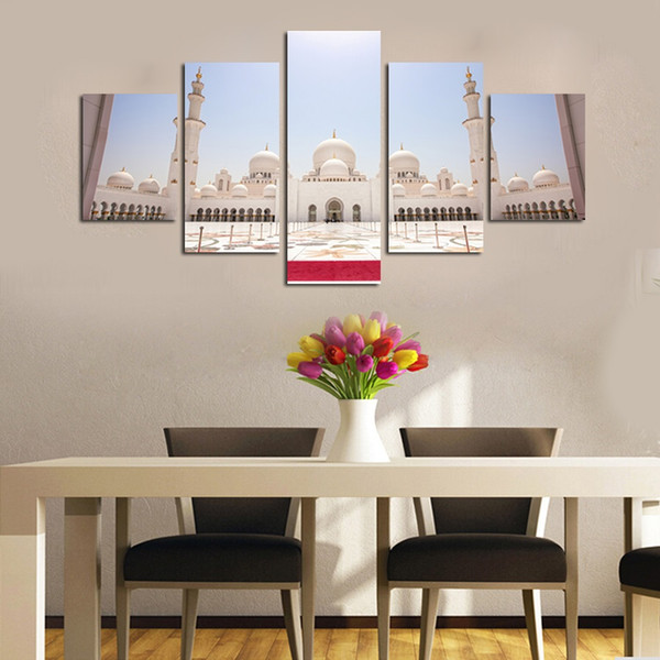 Unframed 5 Pieces Canvas Wall Art HD Prints Painting Sheikh Zayed Grand Mosque Modular Pictures Posters Living Room Home Decoration