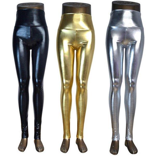 DISSIMILAR High waist Shiny Wet Liquid Look PU Faux Leather Metallic Stretchy Leggings Sexy Dance Pants Disco leggins 5 sizes S18101502