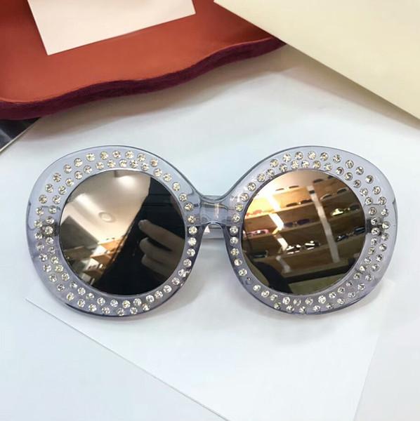 Bling Bling Luxury Sunglasses Female TOP Quality BEST GIFT Lady's Sun Glasses Round Lens UV Protection Full Spectacle Frame Brand Designer E