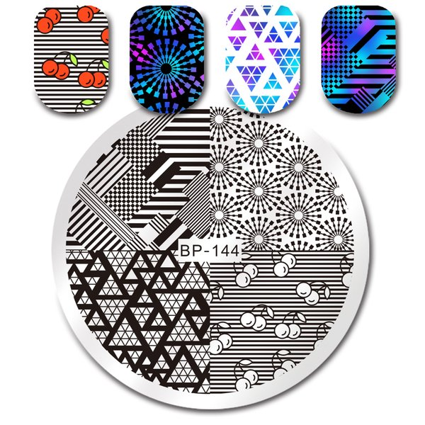 BORN PRETTY Round Stamping Template Unicorn Summer Floral Geometry Facial Expression Cartoon Nail Art Image Plate Manicure Tools