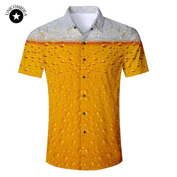 Beer Print Shirt Mens Funny Novelty Dress Shirts Short Sleeve Tops Male Slim Fit Blouse Hawaiian Shirt Casual Brand Clothing