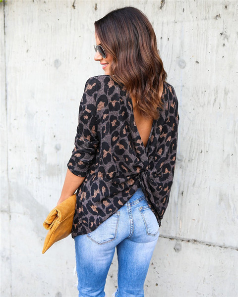 2018 Fashion Women T-shirts Spring Autumn open back Long Sleeve Ladies Leopard Loose Casual Tees Plus Size Tops Female T Shirt 180705